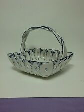 Blue & White Porcelain Basket Made in Portugal Hand Painted & Signed
