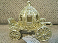 """NEW! Gold glitter carriage Christmas ornament 4"""" """"like Cinderella's"""" tagged"""