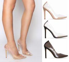 Ladies Womens Perspex Clear Court Shoes Stiletto High Heels Pumps Shoe Kim Size