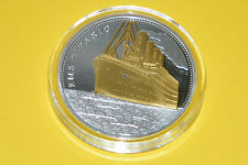 Titanic Coin 1912 Voyage RMS Gold & Silver Plated Commemorative Coin & Case NEW