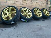Simmons FRCS 19 inch Genuine wheels and Tyres Custom Gold Ford FPV Set Of 4