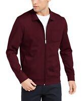 Alfani Men's Harrington Jacket Red Medium M Knit Full-Zip Chest-Pocket $75 022
