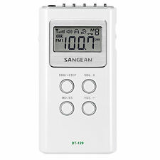 Sangean DT-120 FM-Stereo / AM Receiver, PLL Synthesized Pocket Radio, White New