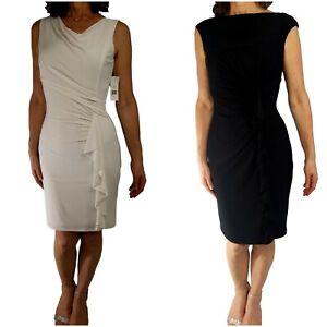RALPH LAUREN Sz 6 Lot of 2 Ruched Asymmetric Dress Stretch Knit Black + Cream