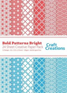 24 Sheets A5+ (155mm x 215mm) Bold Patterns Pale Red and Blue - Craft Creations