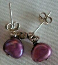 Rare Pair of 925 Silver Purple Pearls Drop Earrings