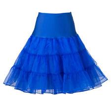 """BLUE ONE SIZE  26"""" 50s Retro-Vintage-Swing Petticoat Fancy Net Rock Rockabilly"""