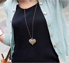 Vintage Ladies Gold Bronze Antique Carved Heart Pendant Long Chain Necklace A61