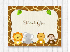 Cute Jungle Safari Animals Gender Neutral Thank You Card Printable