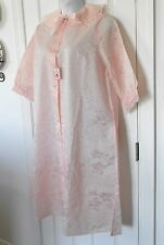 NWT VINTAGE Kay Evans pink jacquard button down nylon Robe NEWOLD STOCK 18 light