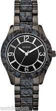 Guess Women's W0014L3 Black Ion Plated Steel Animal Print Bracelet Quartz Watch