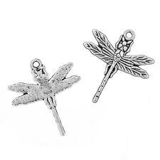 Tibetan Dragonfly Metal Pendant Antique Silver 32mm Pack of 2 (N60/8)