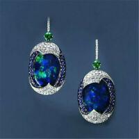 Woman 925 Silver Real Blue Opal Sapphire Ear Hook Wedding Earrings Jewerly Gift