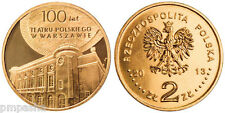 """Poland 2013 2 zlotych """"Centenary of the Polish Theatre in Warsaw"""" UNC"""