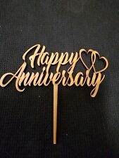 Laser Cut Wooden Cake Topper - Happy Anniversary - Love Hearts