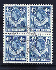 NORTHERN RHODESIA QEII 1953 SG67 41/2d deep blue - fine used block of 4 cat £22