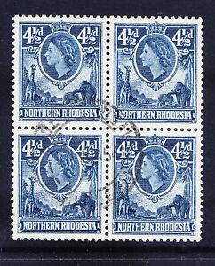 NORTHERN RHODESIA QEII 1953 SG67 41/2d deep blue - fine used block of 4 cat £22