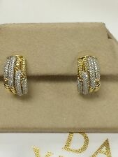DAVID YURMAN 18K YELLOW GOLD AND DIAMOND LABYRINTH CABLE EARRINGS $5200 New