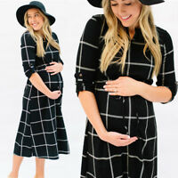 UK Womens Casual Nursing Boho Chic Tie Long Maternity Long Sleeve Shirt Dress AB