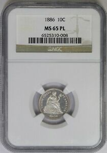 1886 NGC 10C Silver Seated Liberty Dime MS65PL Proof Like POP 2