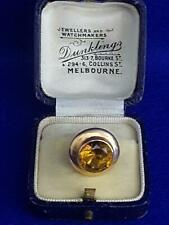 Extravagant 1930s Australian Dunkling 14ct Gold w Large Faceted Citrine Tie-Pin