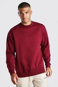 Size Small Basic Lounge Sweat Red Winter Boohoo Mens Jumper Pullover Sweatshirt