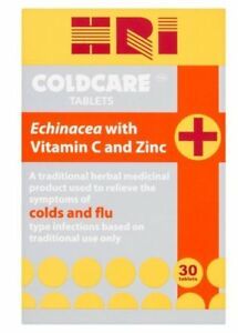 SALE! HRI Coldcare 30 Tablets *Echinacea with Vitamin C and Zinc* *EXP 09/2021*
