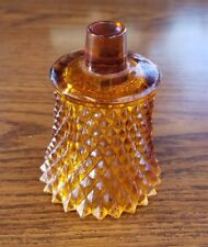 Amber Glass Votive Candle Peg Holder Cup Sconce Diamond Pattern Homco