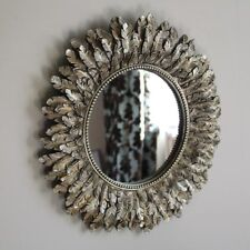 Gold Feather Effect Wall Mirror Living Room Bedroom Hallway Vanity Round Circle2