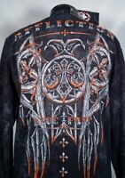 NWT Affliction Jacket Live Fast Full Zip Black Grey Orange Men's Size Medium