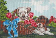 "SALE! TWO PUPPIES & TULIPS NEEDLEPOINT CANVAS COLLECTION D'ART  8 3/4"" X 11 7/8"""
