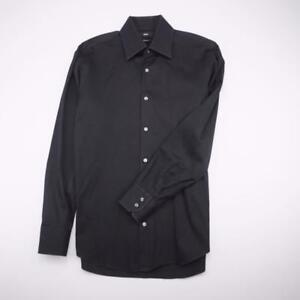 HUGO BOSS Button Front Dress Shirt Long Sleeve Black Mens 15-32/33