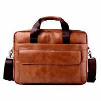 Genuine Leather laptop bag real Cowhide  leather business Handbags Men Crossbody