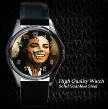 New MJ Michael Jackson Leather Watch Gift
