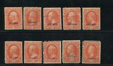 1875 US Department of Interior Specimen Stamps #O15SD-O24SD Mint No Gum Set