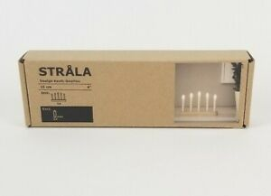 """Ikea Strala LED 5 Armed Candelabra Battery Operated Pine White 15cm 6"""" Candles"""