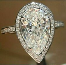 Solid 3.90 Ct Pear Simulated Moissanite Wedding Halo Ring 14K White Gold Over