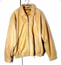 Vtg Distressed Tan Yellow Leather Quilted Bomber Jacket Sz 5XL