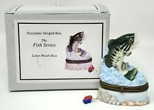 Midwest Cannon Falls Phb Porcelain Box Fish Series Large Mouth Bass Fishing Nip