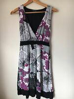 Karen Kane Dress Size 10 Sleeveless Black White Mauve <T14335z