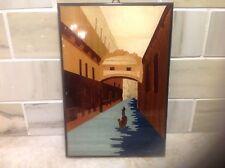 Italian Intarsia Inlaid Woodwork Venice Scene Hanging Picture
