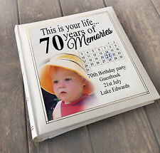 Personalised large luxury guest book photo album, 70th birthday present gift