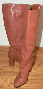 """Women's bcbg maxazria Size 8M 4"""" Staked Heel Cognac Leather Boots"""