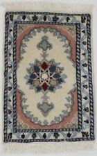 Floral Design Small Hand Knotted 1'4X2' Rare Tiny Nain Area Rug Oriental Carpet