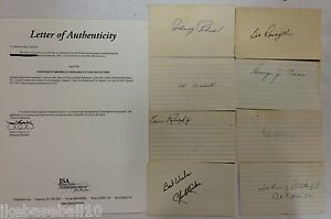 LOT OF BROOKLYN DODGERS AUTOGRAPHED SIGNED 3X5 CARDS JSA LOA PODRES AND MORE