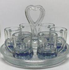 Antique Hobnail Glass Tray Heart Handle & 6 Blue FOSTORIA Depression Glass Mugs