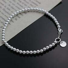 Lady Girls 925Solid Silver Beads jewelry Bracelet bangle birthday Gift