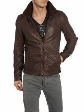 DIESEL LITERAL LEATHER JACKET BROWN SIZE S 100% AUTHENTIC