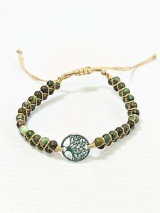 Artisan Green Stone Silver Tone Tree of Life Woven Cord Adjustable Bracelet