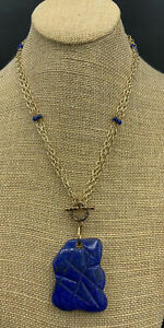 Barse Chiseled Toggled Necklace- Lapis & Bronze- New with Tags